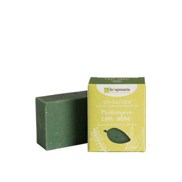 Sapone all'Olio Extravergine d'Oliva Mediterraneo con Aloe  100 gr (Balsamico per pelli impire)