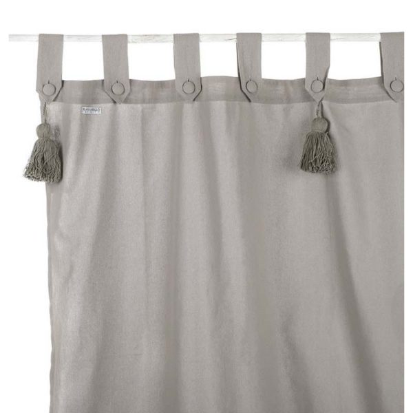 TENDA CON PASSANTI E EMBRASSE 150x300 CM LIGHT GREY 100% COTONE