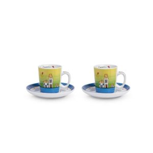 SET LE CASETTE 2 TAZZE CAFFE' C/PIATTINI  BLU 100 ML