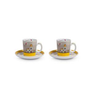 SET LE CASETTE 2 TAZZE CAFFE' C/PIATTINI  GIALLE 100 ML