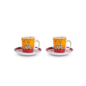 SET LE CASETTE 2 TAZZE CAFFE' C/PIATTINI  ROSSE 100 ML