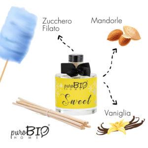 Diffusore di fragranza Biologico SWEET mandorla zucchero e vaniglia linea rilassante 100 ml