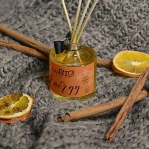Diffusore di fragranza Biologico ENERGY arancia dolce, cannella e bacche di vaniglia linea energizzante 100 ml