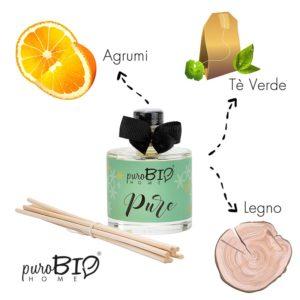 Diffusore di fragranza Biologico PURE tè verde  linea energizzante 100 ml