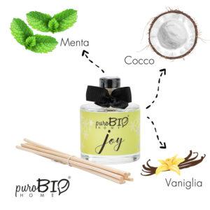 Diffusore di fragranza Biologico JOY menta, cocco e vaniglia  linea energizzante 100 ml
