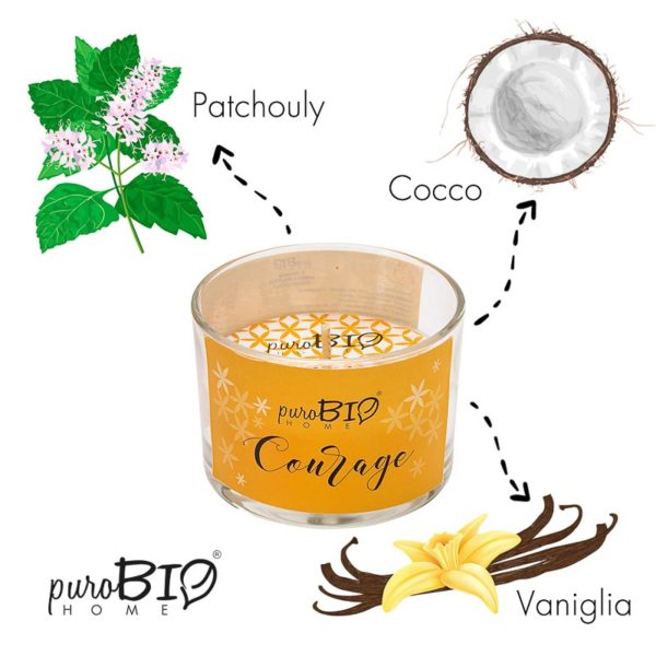 Candela biologica  COURAGE ylang ylang, vetiver, ambra, cocco e vaniglia   linea rilassante 120 ml - durata 20 ore