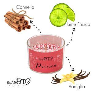 Candela biologica PASSION  lime fresco e cannella linea energizzante 120 ml - durata 20 ore